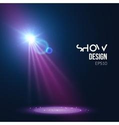 Spotlights empty scene Illuminated stage design vector image vector image