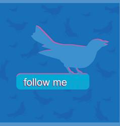 Blue bird color follow me push bottom vector