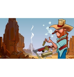 cartoon frowning man in a hat shot from a gun vector image