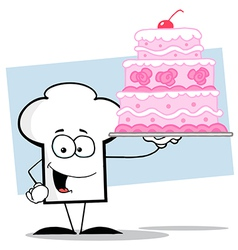 Chef Hat Guy Holding A Pink Wedding Cake vector image