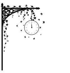 clock and ivy vector image