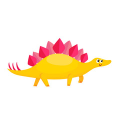Cute and funny smiling baby stegosaurus dinosaur vector