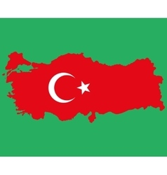 Map of Turkey Turkish flag painted with color vector image vector image