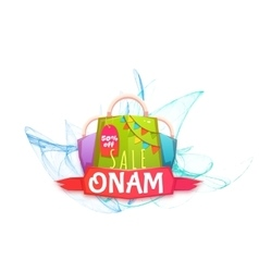 Sale onam banner with packet and ribbon vector