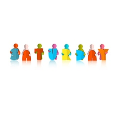 Saturday Colorful Title - Paper Cut People and vector image vector image