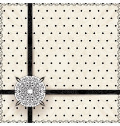 Vintage lace polka dots ornament card vector image vector image