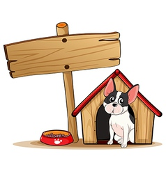 A dog and the empty signboard vector image