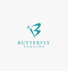 Abstract letter b for butterfly logo icon vector