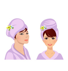 Adorable woman in turban and in bath robe vector