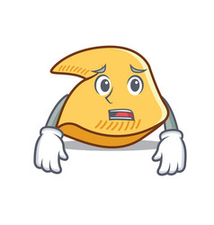 Afraid fortune cookie mascot cartoon vector