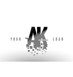Ak a k pixel letter logo with digital shattered vector