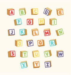 alphabet colorful toy blocks font for children vector image