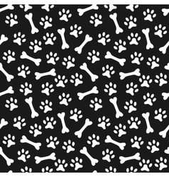animal seamless pattern paw footprint and bone vector image