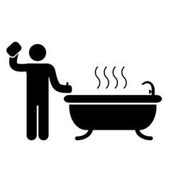 bathroom badge icon vector image
