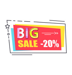 big sale promo label rectangle decorated by star vector image