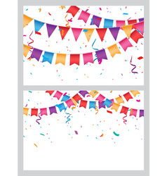 Birthday celebration banner with colorful bunting vector