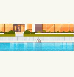 Blue swimming pool near luxury villa house vector