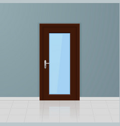 brown wooden glass door on a gray wall interior vector image