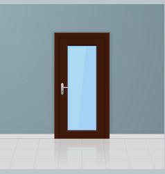 Brown wooden glass door on a gray wall interior vector