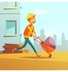 Builder And Building Cartoon vector image