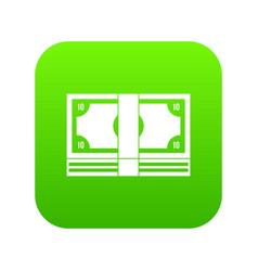 bundle of money icon digital green vector image