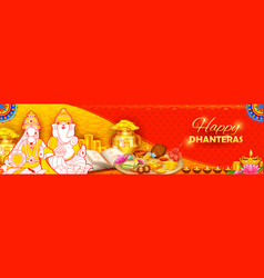 burning diya on happy diwali dhanteras holiday vector image