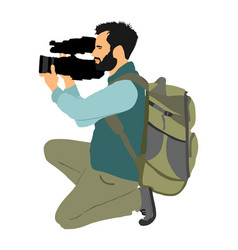 Cameraman with backpack on duty vector