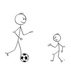 cartoon father playing with soccer or football vector image