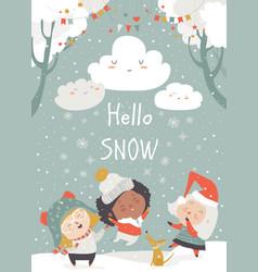 cartoon happy children enjoying snow hello vector image