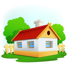 Cartoon rural house with among trees and fence vector
