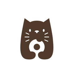 cat donuts negative space logo icon vector image