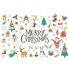 Christmas hand drawn doodles set vector image
