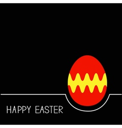 Colored Happy Easter egg White line Red yellow on vector