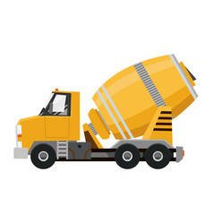 Concrete mixer yellow truck with special vector