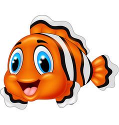 Cute clown fish cartoon posing vector