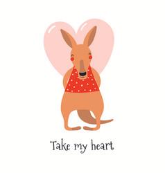 Cute kangaroo valentine card vector