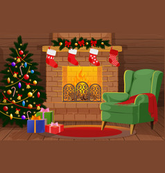 Decorated christmas room with xmas tree gifts vector