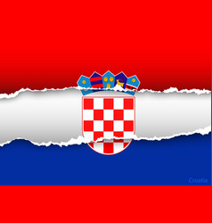 design flag CROATIA from torn papers with shadows vector image