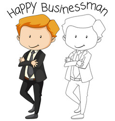 doodle happy businessman character vector image