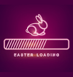 Easter card with neon rabbit loading symbol vector