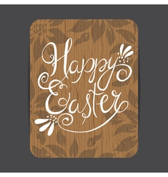 easter wooden greeting card vector image