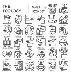 ecology line icon set environment symbols vector image