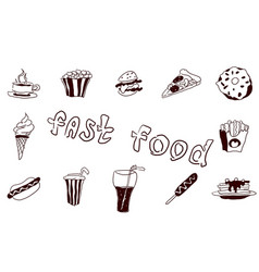 fast food large collection of doodles food vector image