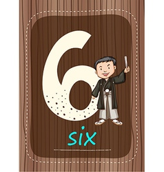 Flashcard number 6 with number and word vector