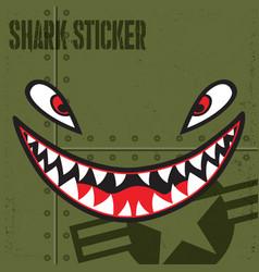 Flying tiger shark mouth sticker vinyl smile vector