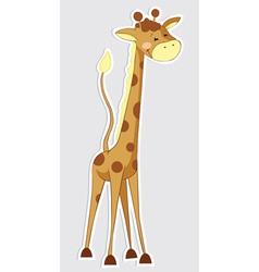Fun cartoon giraffe sticker vector