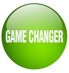 Game changer green round gel isolated push button vector