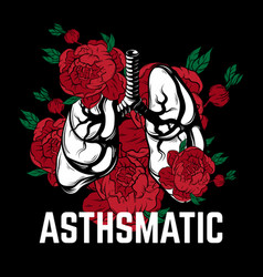 Hand drawn placard with lungs and flowers tattoo vector