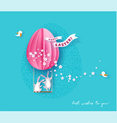 Happy easter card with bunny flowers and egg vector