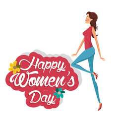 Happy womens day cute girl vector